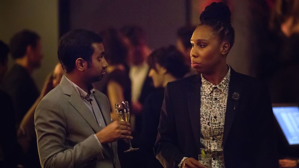Lena Waithe & Aziz Ansari in a scene from Master of None.