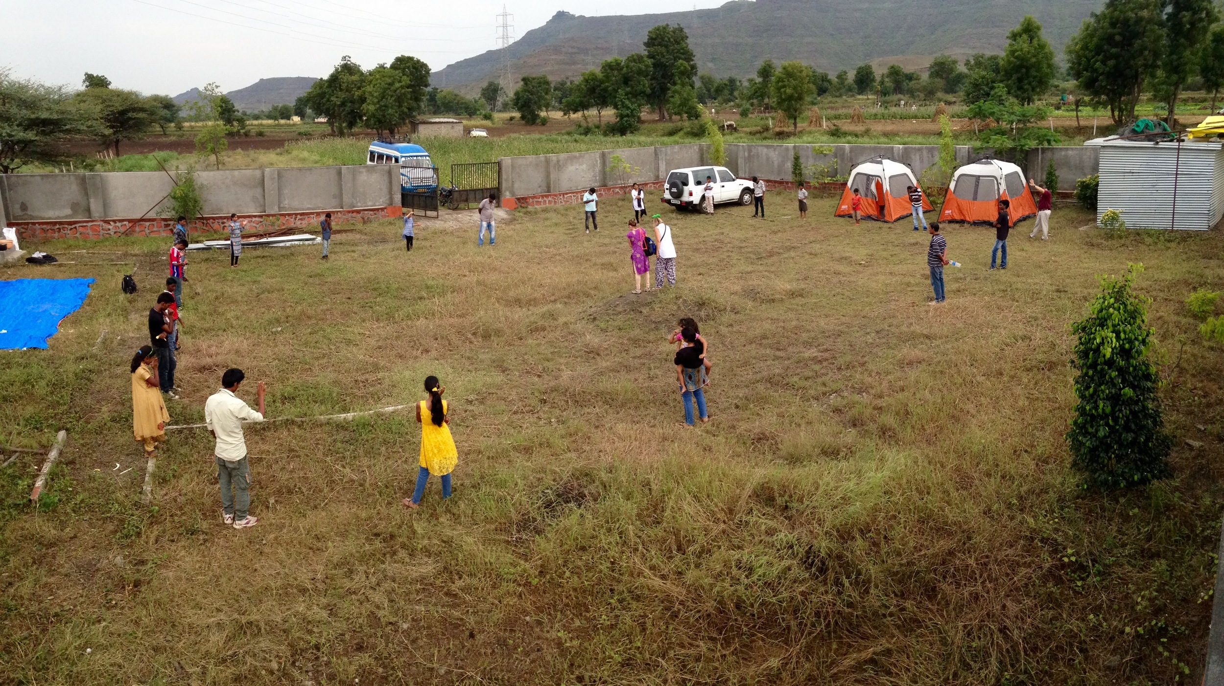 All the children and staff of Project Father Heart are standing over the footprint of where the new home will be built. We were so excited to pray over each corner of the home!
