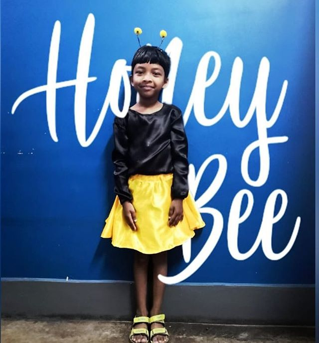 The cutest little honey bee I ever did see. Working with kids is the greatest gift. They're cute, easy to love, resilient, fun, and imaginative. We love what we do. #childrestoration #lovethelittleones #kidsarethebesthumans #honeybee #shessocute