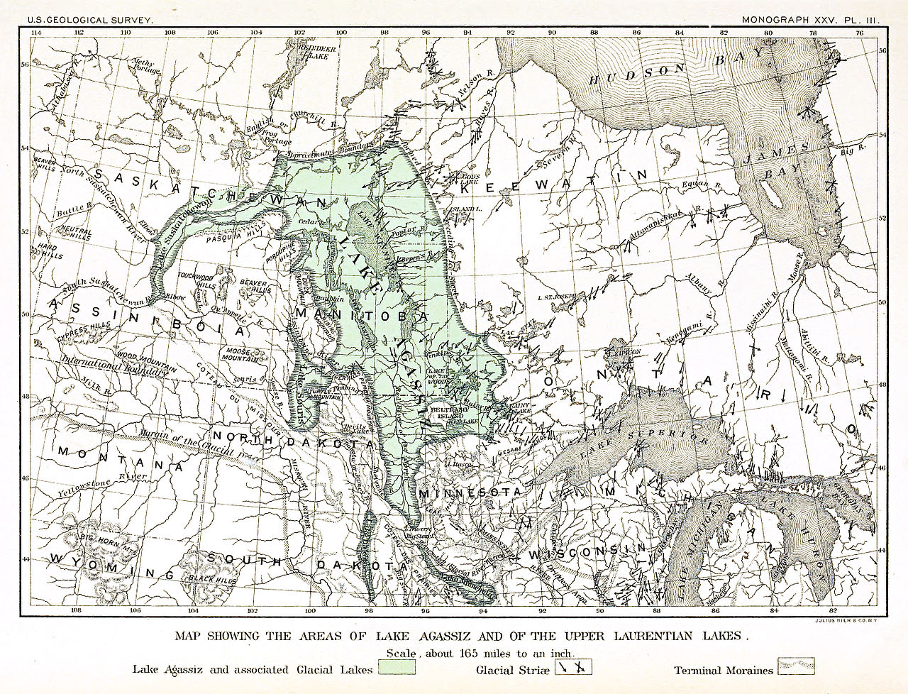 """This is a 19th century map of the estimated boundaries of Lake Agassiz. Following the western shore, from upper-left to lower right, you will find the prairie """"mountain range,"""" also known as Pasquia Hills, Porcupine Hills, Duck Mountain, Riding Mountain and Turtle Mountain."""