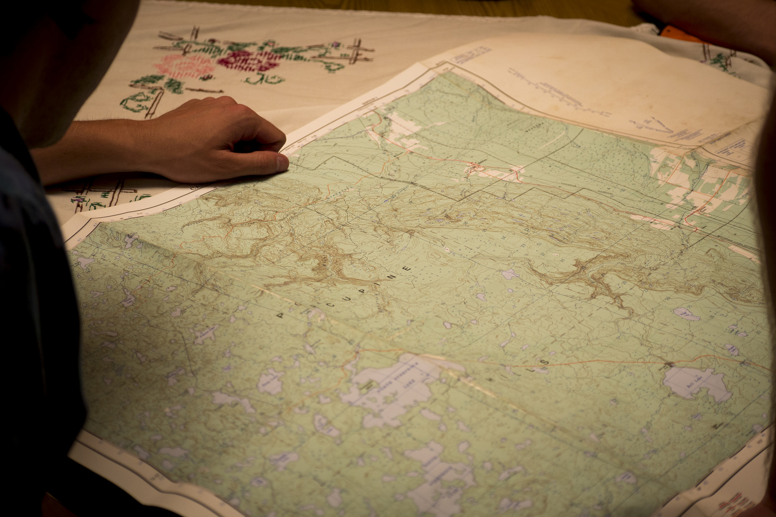 Going over the topographic map on the night before our trip. Snail Lake is located south of both North and South Steeprock Lakes in the Porcupine Hills.