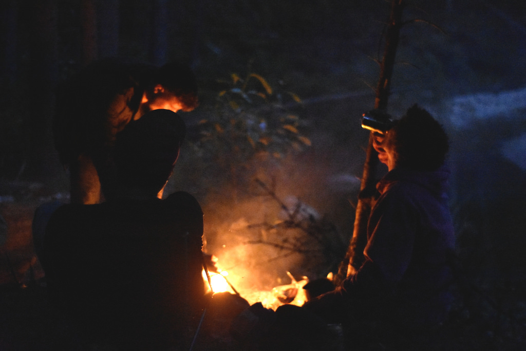 The campfire is less for heat and more for ridding mosquitoes.