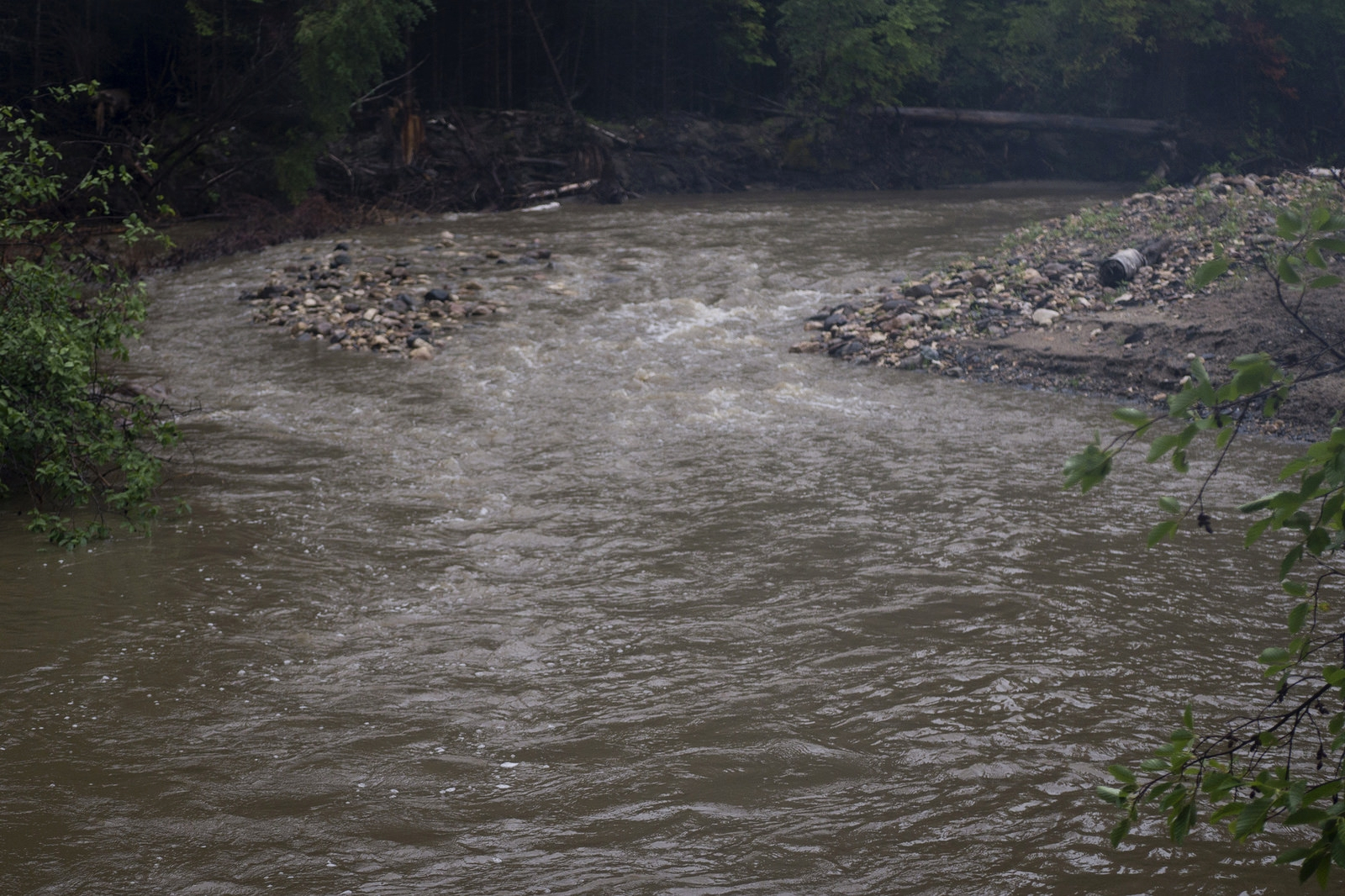 Day of the flood—Waskwei rose by nearly three feet after 12 hours of constant rain.
