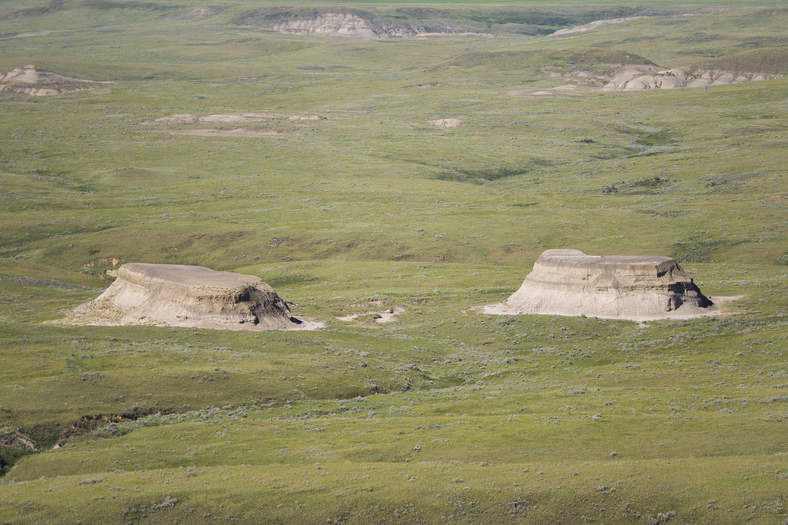 Decapitated buttes—layers of softer density erode away leaving shelf-like plateaus.