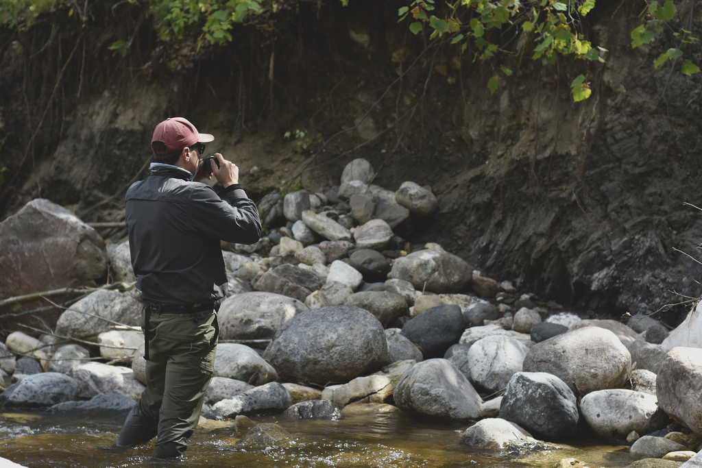 Jason photographing an outcrop (Photo: Hootz)