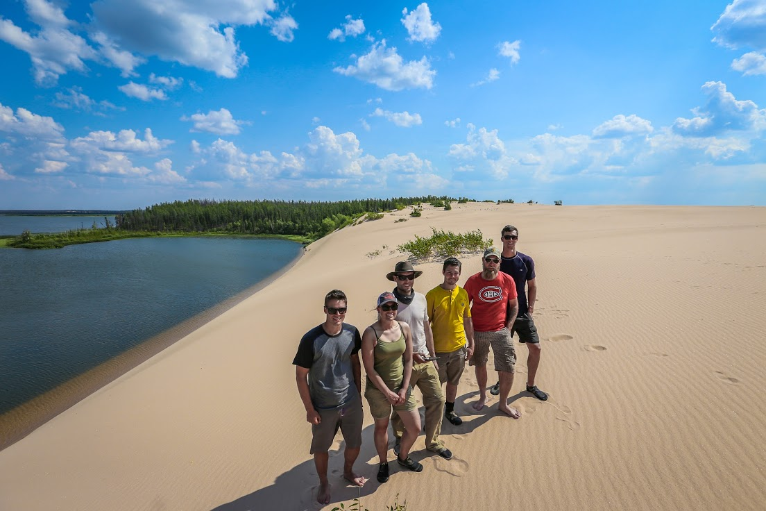 Group photo at the Pipestone River sand dunes
