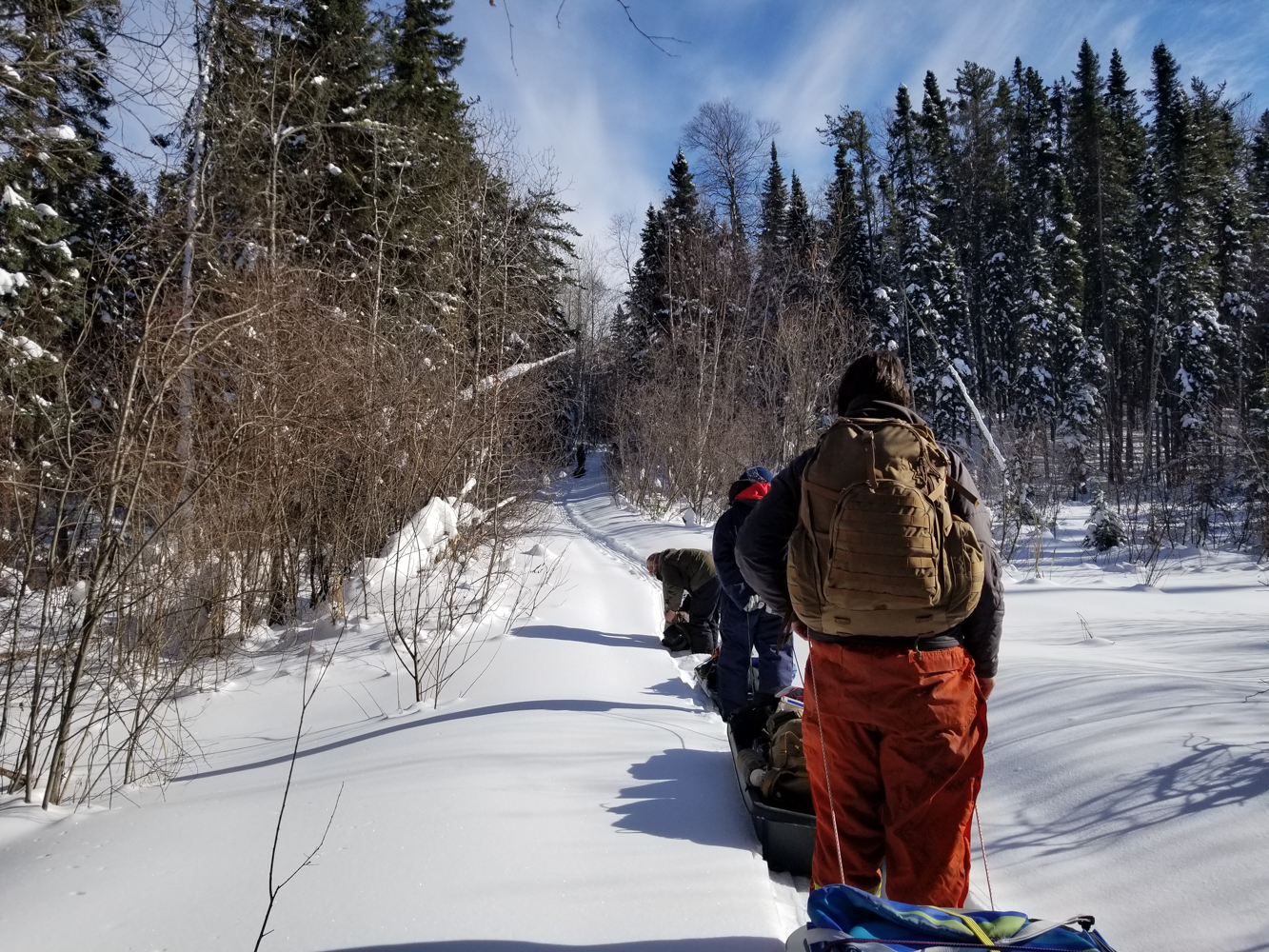 Blazing a fresh trail to Black Beaver Lake, Duck Mountain, Manitoba (Goodson)