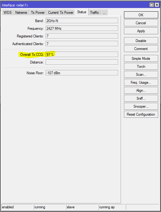 Overall Tx CCQ % with advanced settings applied