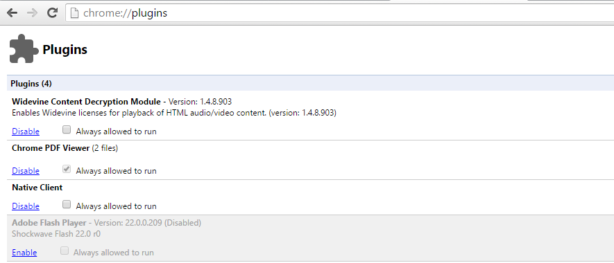 Google Chrome with Adobe Flash Player disabled
