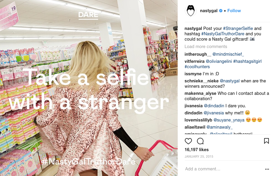 NastyGal promoting branded hashtags for their giveaway.