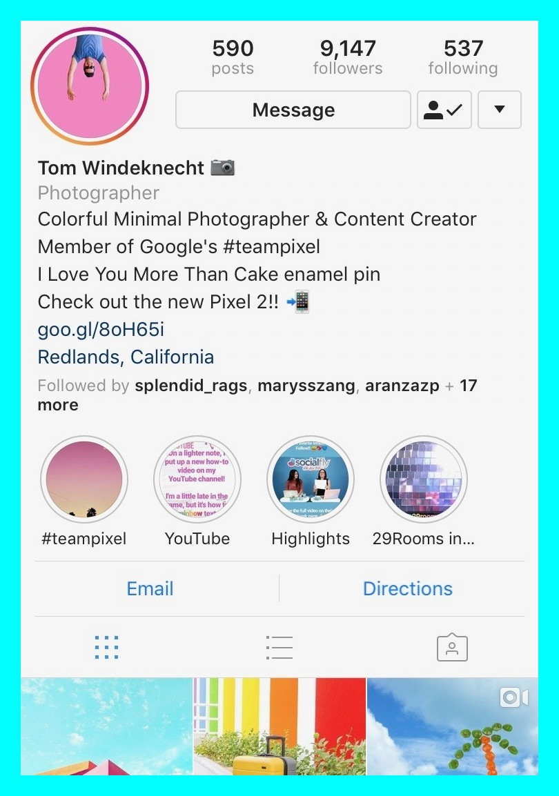 @tomwindeknecht - Tom Windeknecht is an amazing colorful photographer and content creator member of Google's #teampixel. His photos are wonderfully minimal but striking due to their bright hues. He hit's a home run every time! www.instagram.com/tomwindeknecht