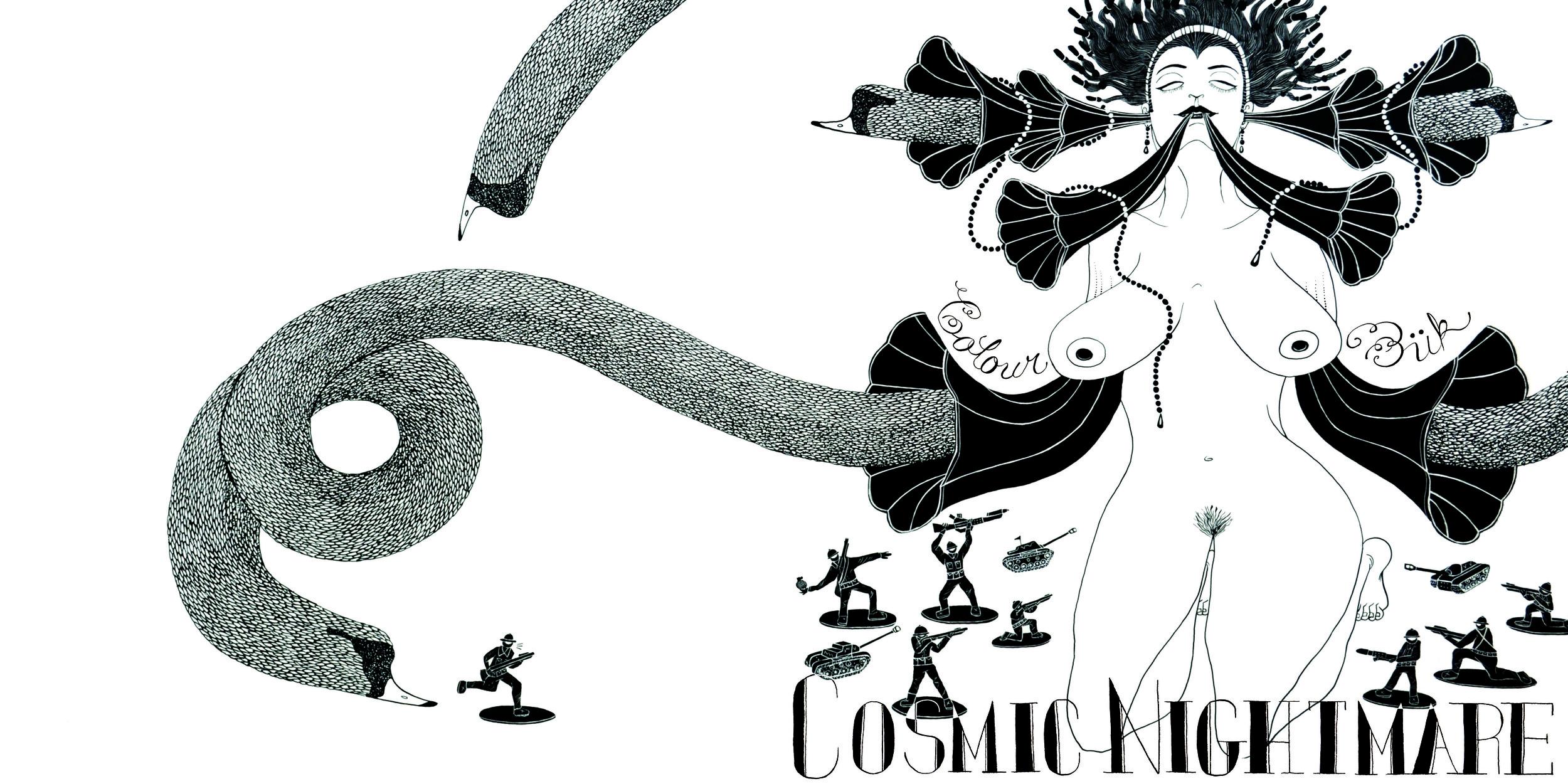Color Buk LP Cover (Reverse)  ; Ink on board 2014