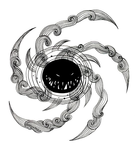 Kosmikophobi (Fear of Cosmic Phenomenon)  ; Ink and digital 2012