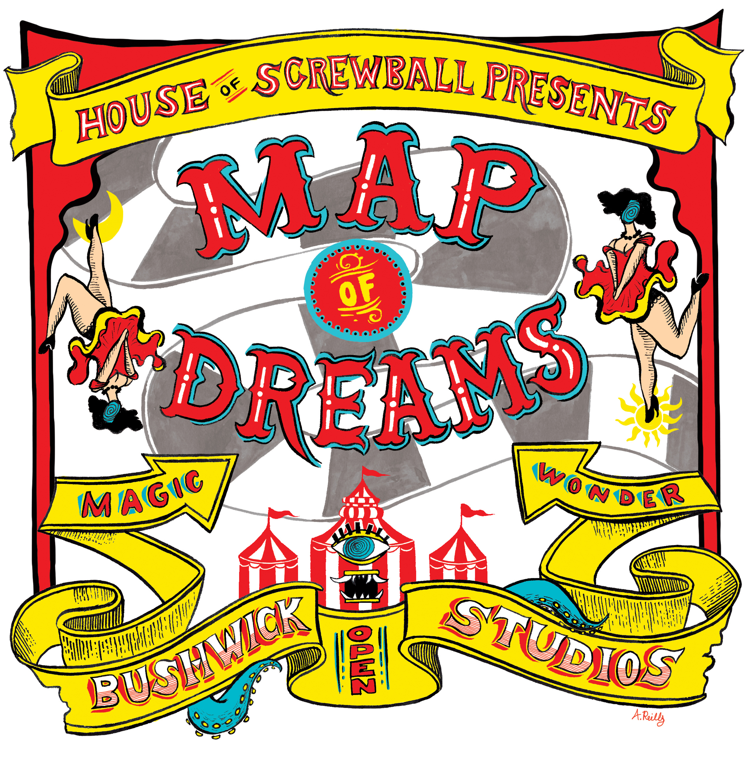 Map of Dreams Poster.  2015 Ink and digital   Client:House of Screwball / Bizarre Bushwick