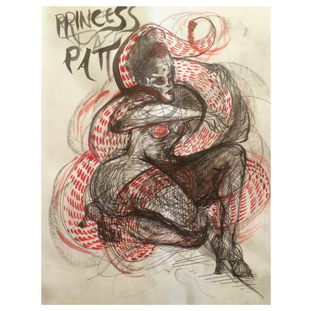 Princess Pat twisting a snake around her body.