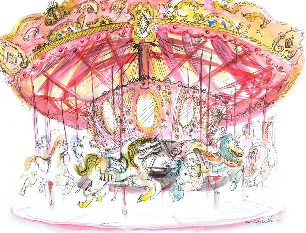 Study of Deno's Carousel at Deno's Wonderwheel Park. Coney Island, NY   (Drawn Live). Watercolor. 2015  SOLD