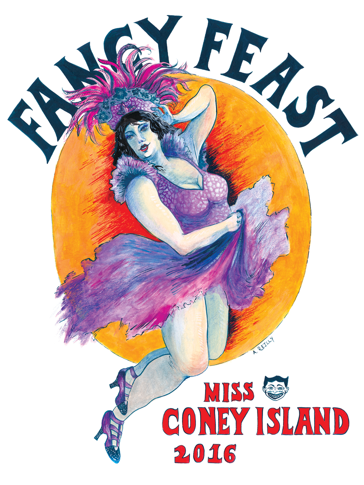 Fancy Feast (Miss Coney Island 2016).  Watercolor and ink on paper. 2015.  SOLD
