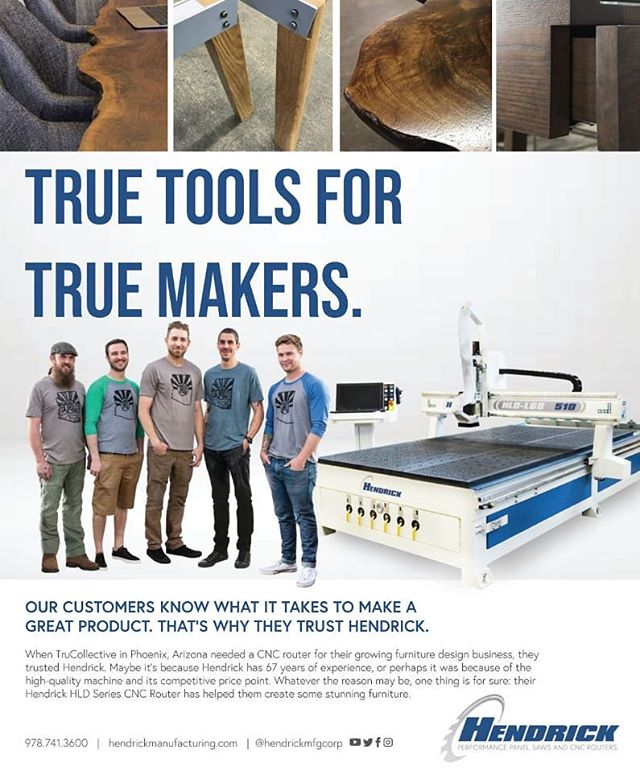 Look Mom, we famous!! Thanks to @hendrickmfgcorp for the shoutout and for manufacturing such an awesome piece of equipment.  #furniture #furnituredesign #design #designer #Interiordesign #woodworking #Wood #craftsmen #Madeinamerica #smallbusiness #arizona #dtphx #trucollective