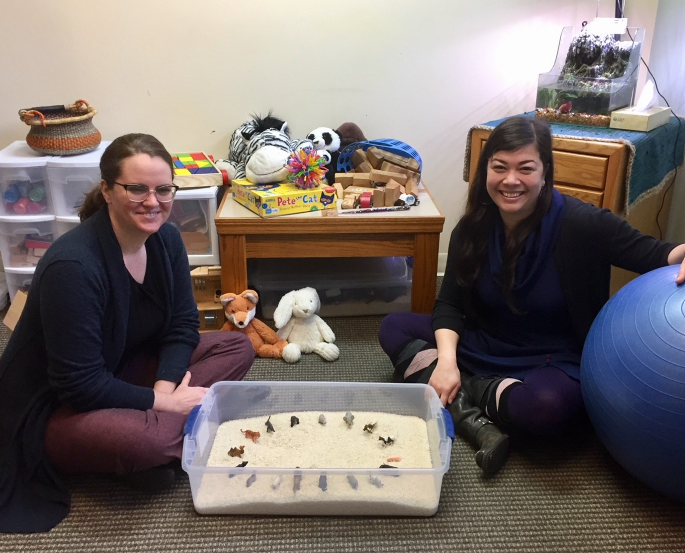 Mental Health Therapists Charissa Schmidt, QMHP and Carlyn Wierda, LMFT pose with therapeutic play tools.