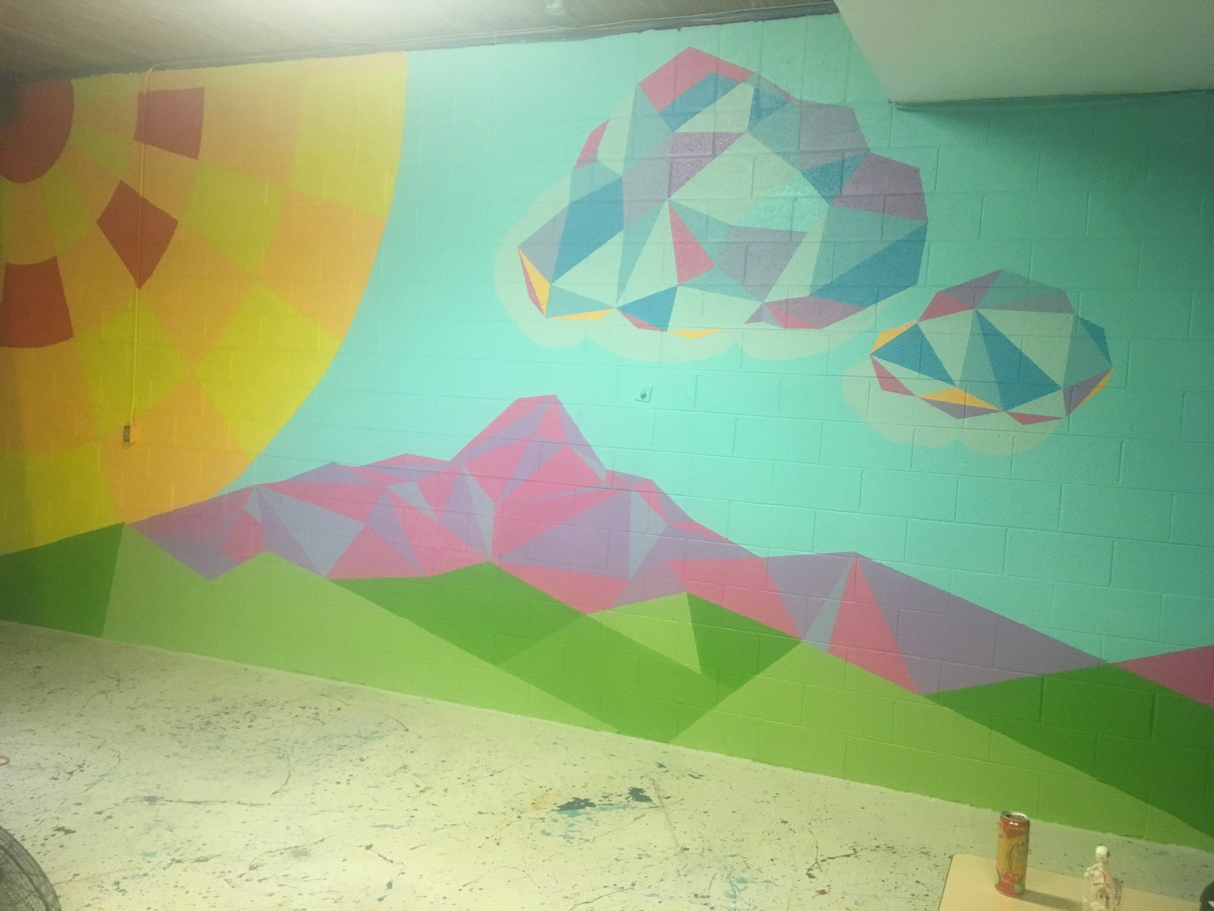 The newly completed mural