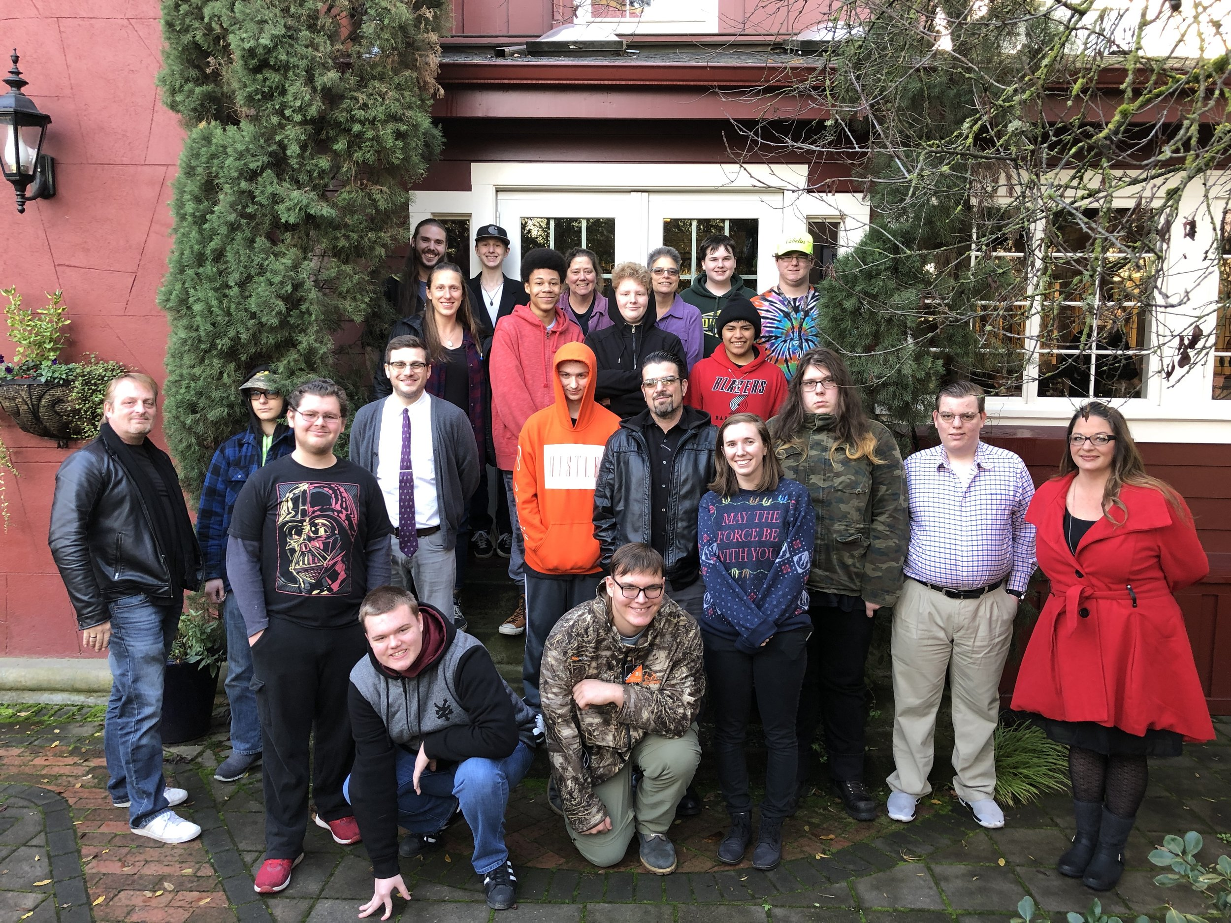Center Point School staff and students pose outside of the Excelsior Inn after enjoying their annual holiday breakfast celebration.