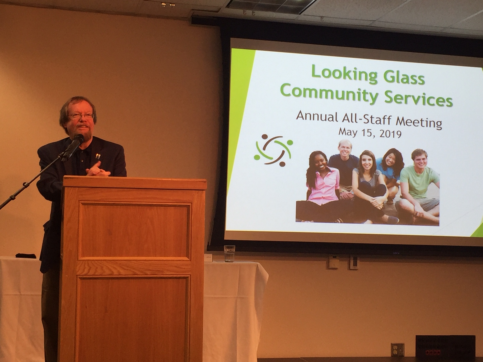 Looking Glass CEO Craig Opperman talks with Looking Glass staff members at the 2019 all staff meeting and lunch at Lane Community College on Wednesday, May 15th.