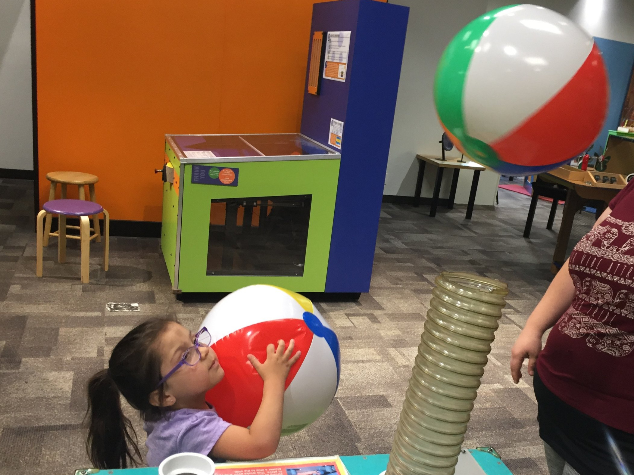 Family members involved in the IOSS Counseling group enjoy some Science Center activities during a Family Fun Night organized to allow parents and families opportunities to relax and have a fun time.