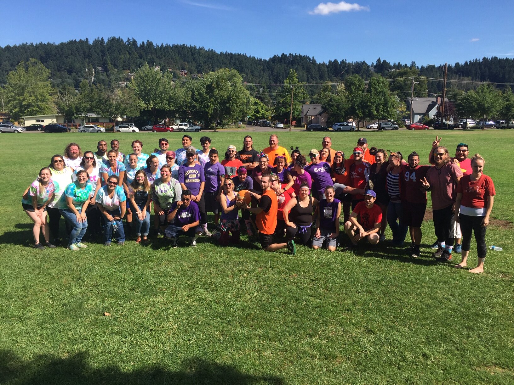 This was the a brief respite during a day of nearly constant trash talking between programs as they gathered for a group photo with RCC, Stepping Stone, Pathways and PRD teams represented.