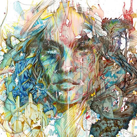 Carne Griffiths  is originally from Liverpool England and went to school at  Kent Institute of Art and Design . Griffiths mostly uses calligraphy inks, graphite and liquids such as tea, brandy and vodka, but started his art career as an embroidery designer, where he worked for 12 years.  There is so much to see in all of his works, so many different little details that make the pieces stand out from one another.  Check out his must see gallery here:  Carne Griffiths Gallery