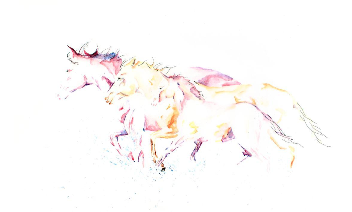 Horses in the Clouds artwork art brad wilson artist watercolor ink splatter abstract colorful painting bradley wilson studios family water .jpg