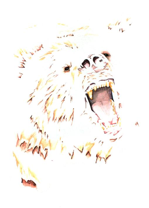 Intimidation artwork art brad wilson artist watercolor ink splatter abstract colorful painting bradley wilson studios bear growling scary mean.jpg