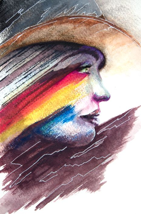 Montana Girl artwork art brad wilson artist watercolor ink splatter abstract colorful painting bradley wilson studios portrait.jpg