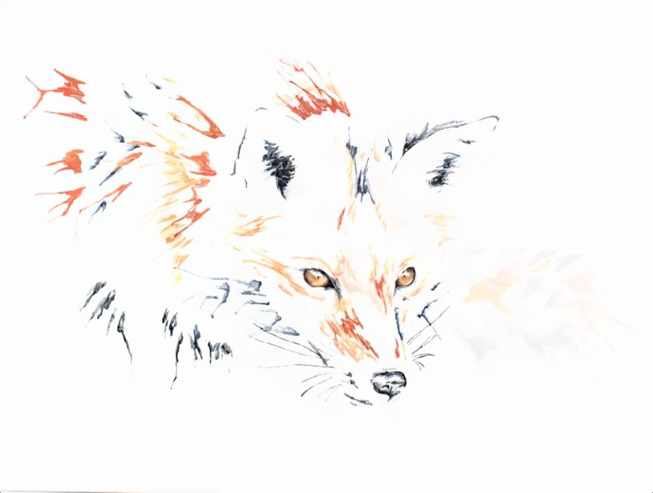 Stalking Eyes artwork art brad wilson artist watercolor ink splatter abstract colorful painting bradley wilson studios fox preditor.jpg