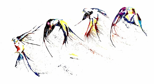 Bird Landing splatter flying artwork art brad wilson artist watercolor ink splatter abstract colorful painting bradley wilson studios.jpeg