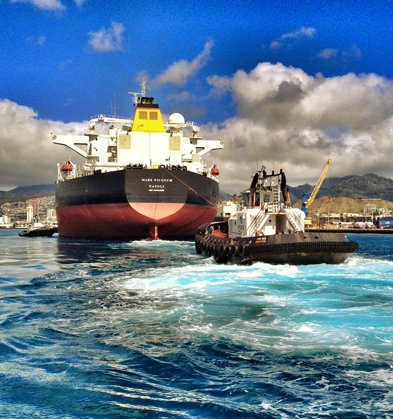 RIDE ONBOARD A FOSS TUG AND GET A CAPTAIN'S VIEW OF HANDLING A SHIP AROUND HONOLULU HARBOR