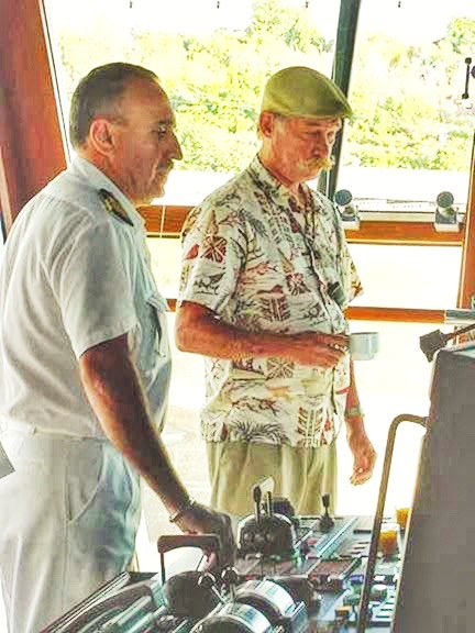 Capt Dave Lyman works with the Master of the CARNIVAL SPIRIT during there arrival into Nawiliwili in 2001. At that time she was the largest ship to ever call at Nawiliwili Harbor on Kauai. The SPIRIT was also the first azipod equipped ship to call at Kauai.