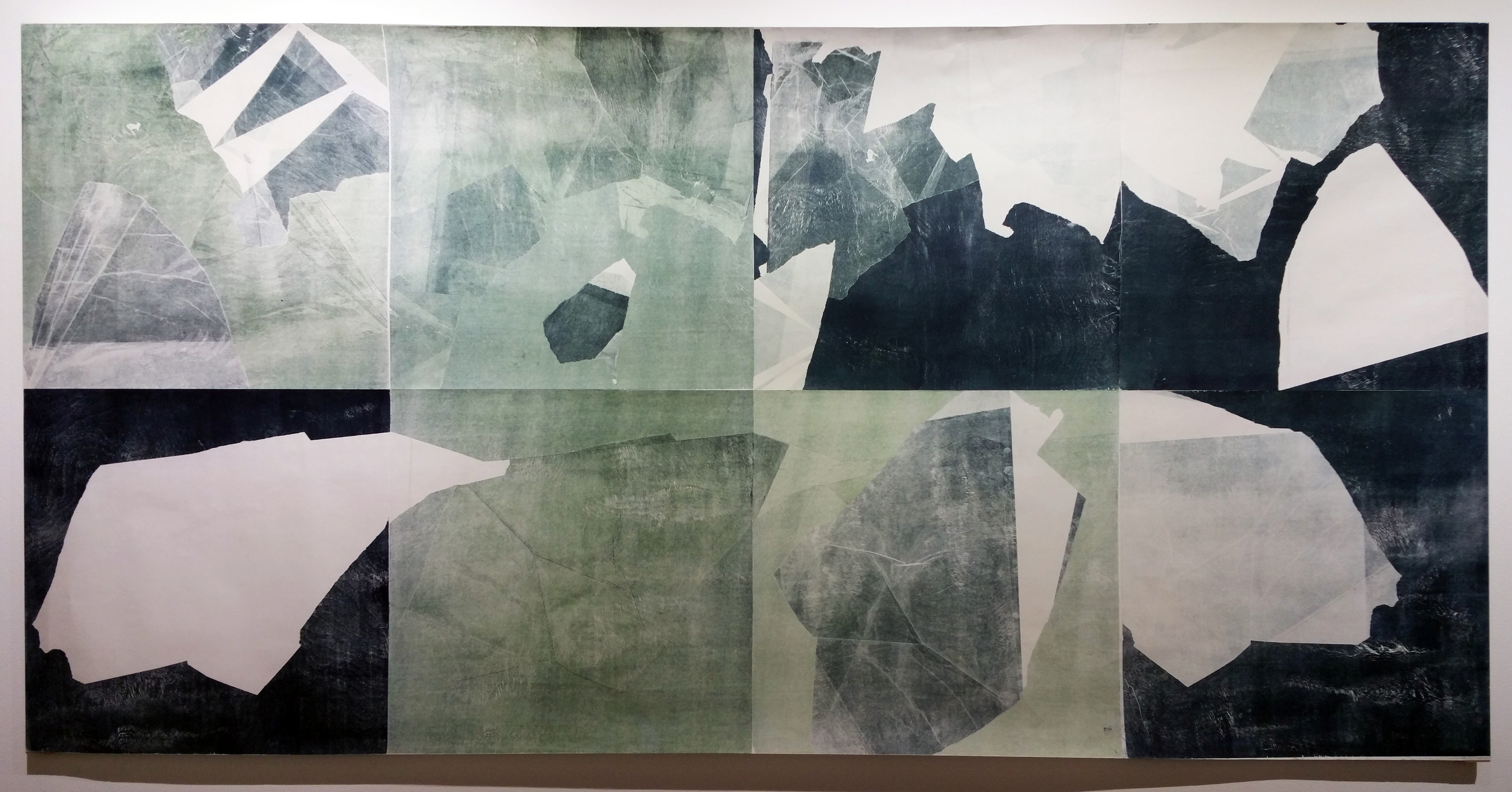 """Edge vs Oblivion"" Wood Monotype on Masa, 43 inches x 86 inches"