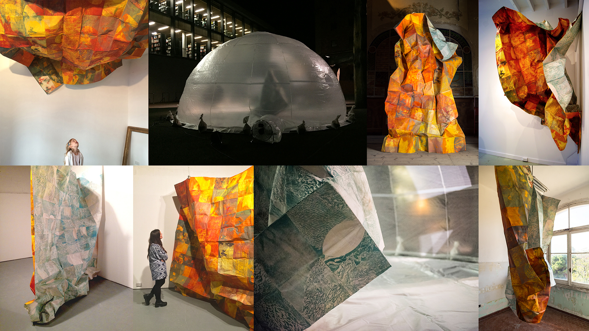 Clockwise from top left: Werkstadt Berlin; Inside Nomadic Atelier in Weimar; On stage at Teatro Marinoni; at CR Ettinger Studio Philadelphia; Director's office at Marinoni; Close-up inside Nomadic Atelier; Two views at GENERATORprojects Dundee