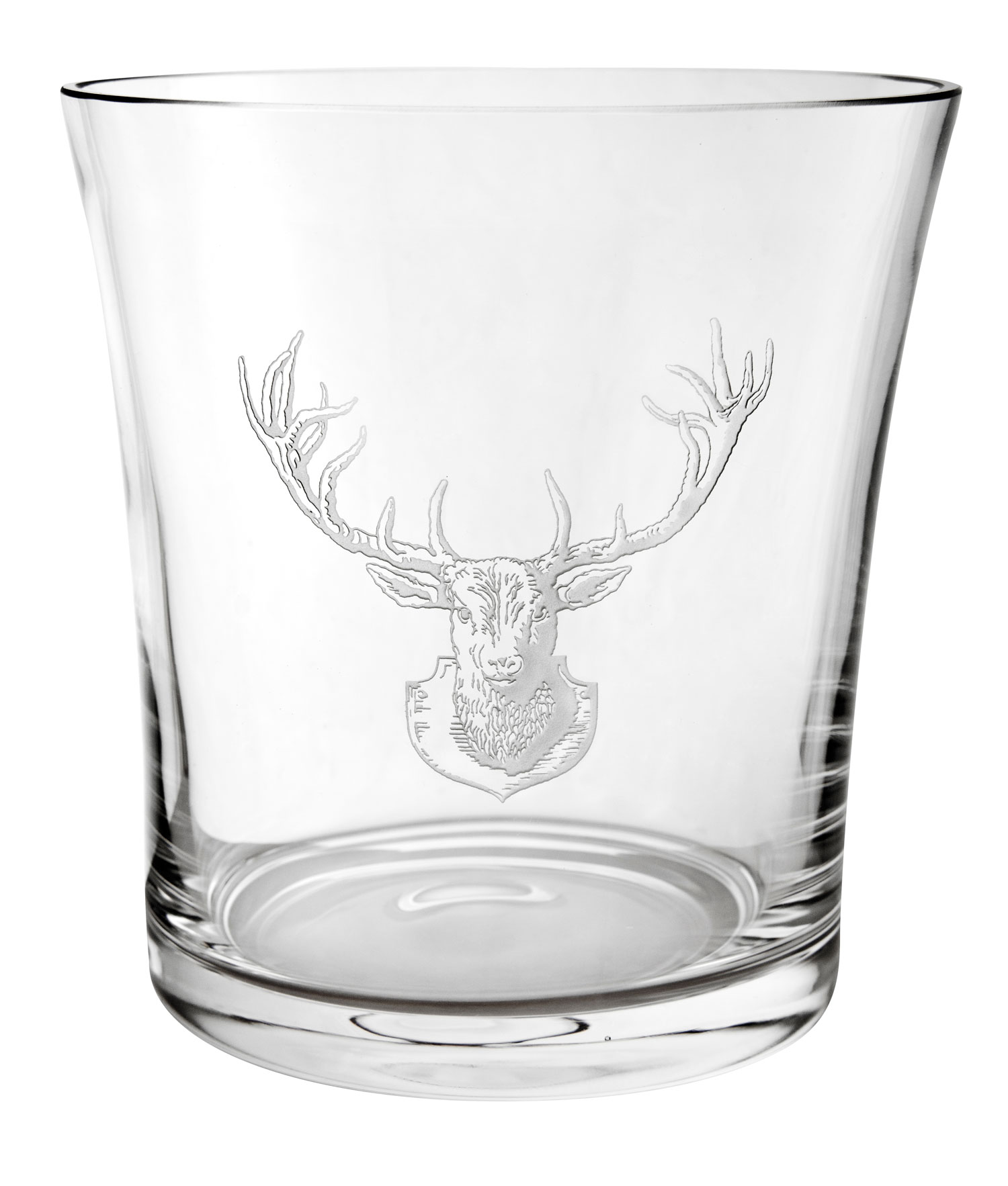 Hand-Etched Crystal Stag Ice Bucket