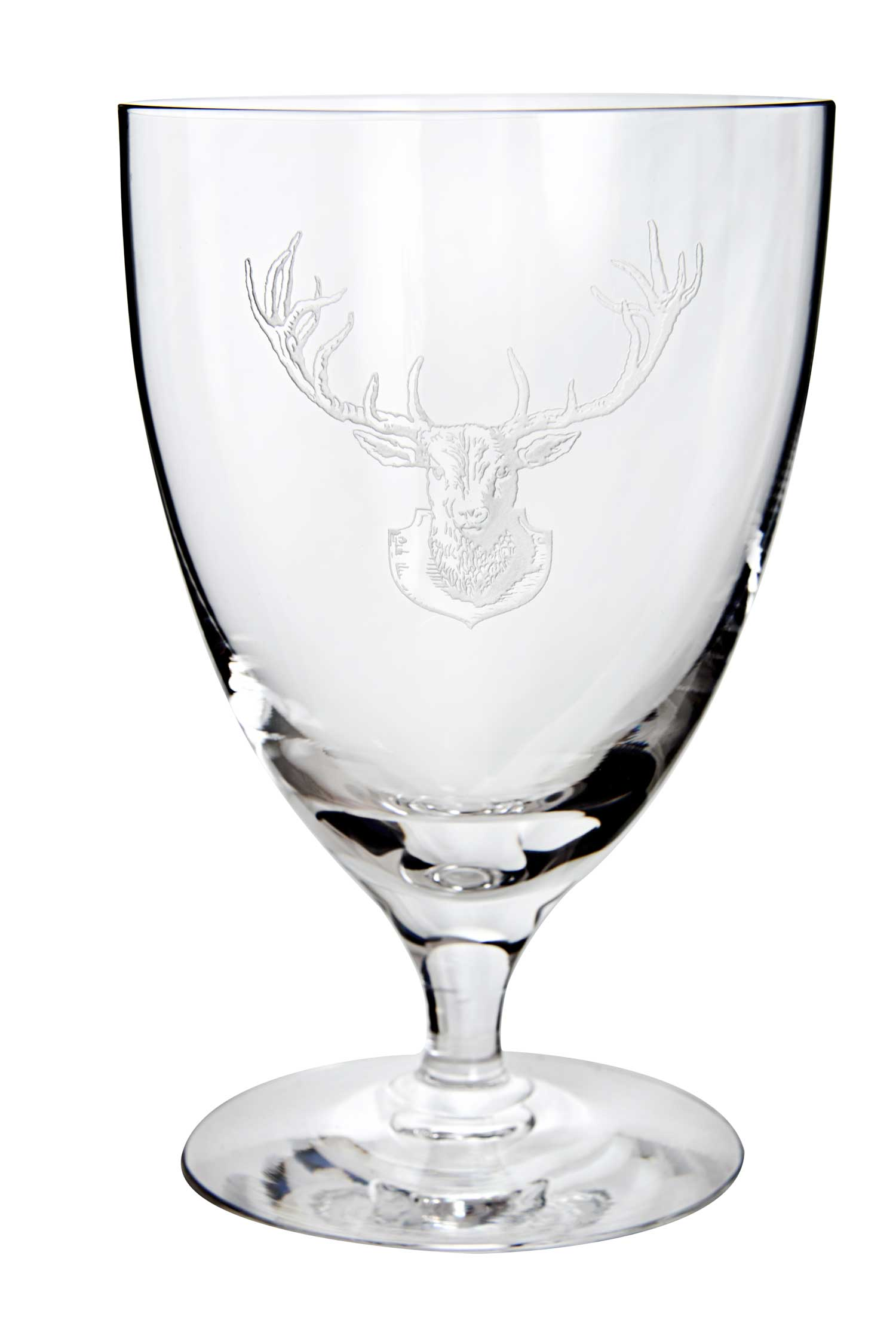Hand-Etched Crystal Stag Water Glass