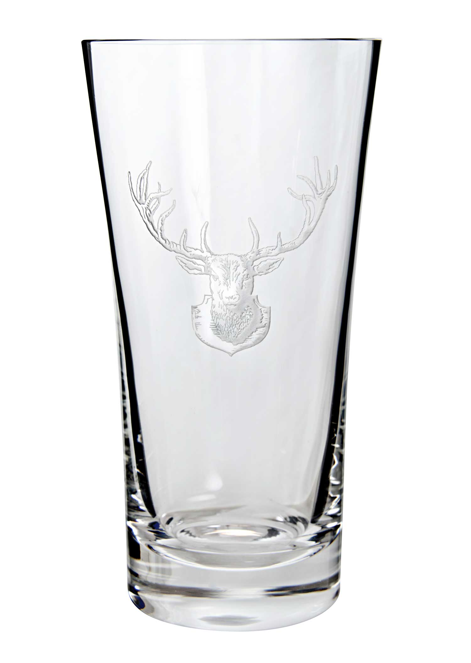Hand-Etched Crystal Stag Highball Glass