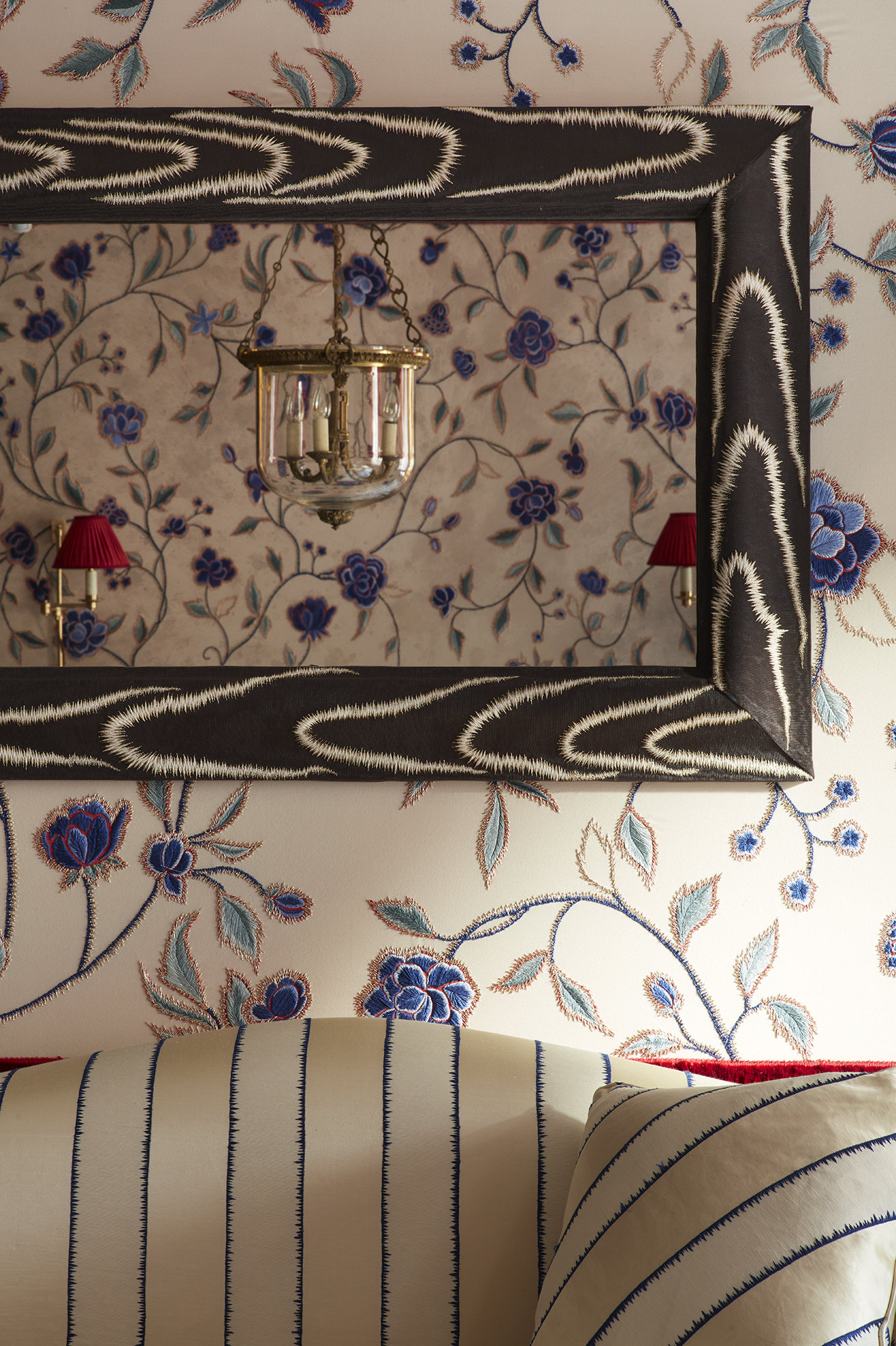 The de Gournay hand embroidered Flora wallcovering, hand embroidered Faux Bois on mirror frame and hand embroidered Stripe upholstery from the Salon Prive collection by Alessandra Branca