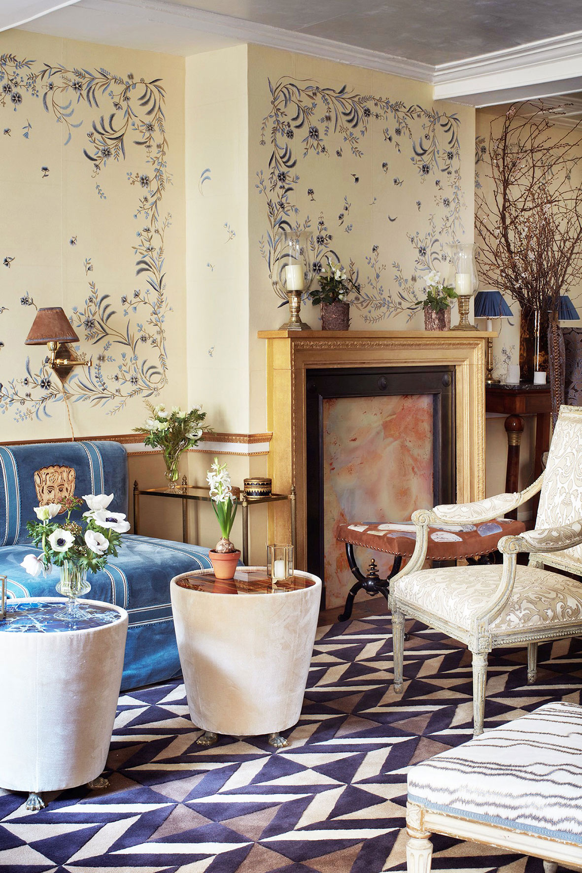 de Gournay hand painted and hand embroidered 'Elisavetha' wallcovering, 'Lionet' upholstery detail, hand embroidered 'Sarafan' damask upholstery, hand embroidered 'Faux Bois' upholstery from the Salon Privé collection by Alessandra Branca