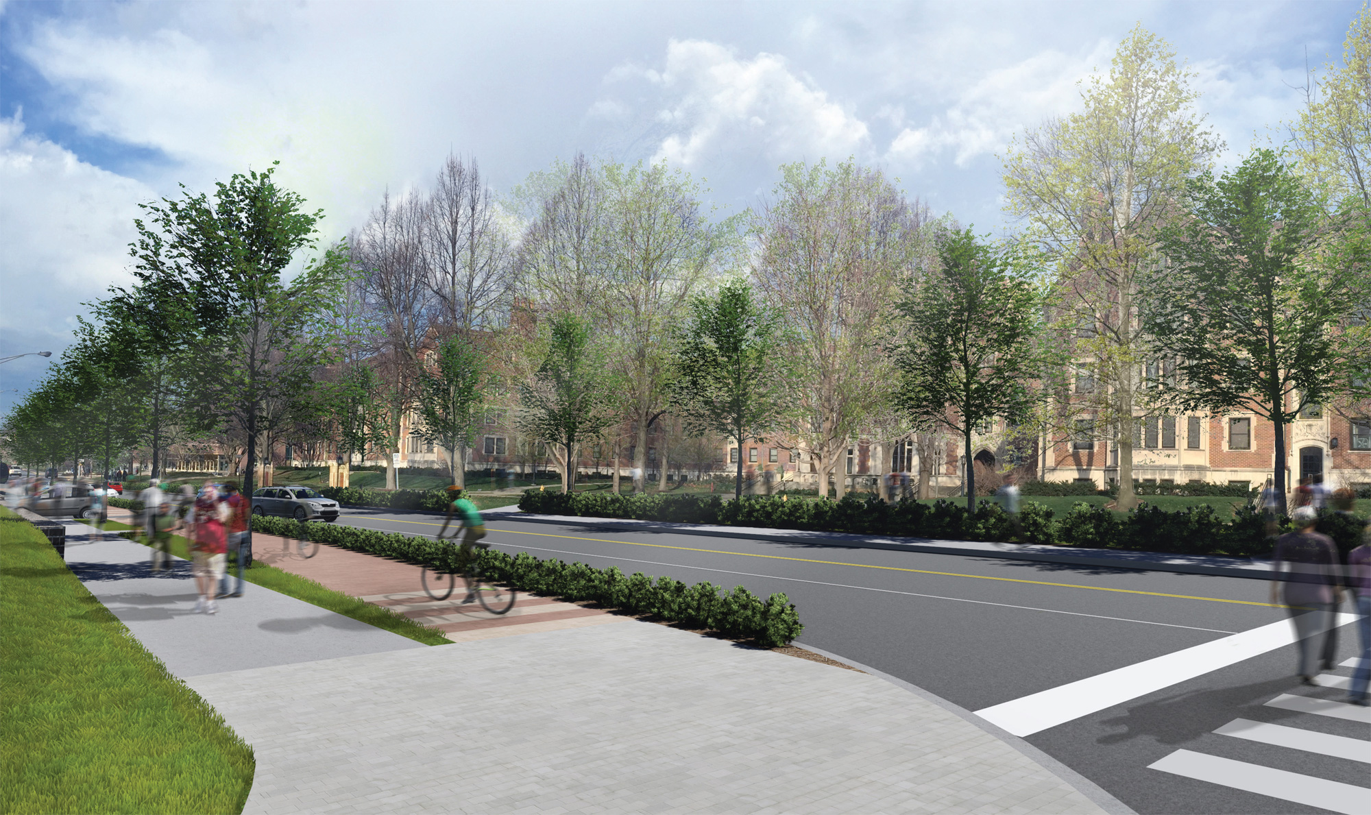 Conceptual rendering of Stadium Avenue facing northwest towards Cary Quadrangle near the intersection of Stadium Avenue and University Street.   [click photo to enlarge]