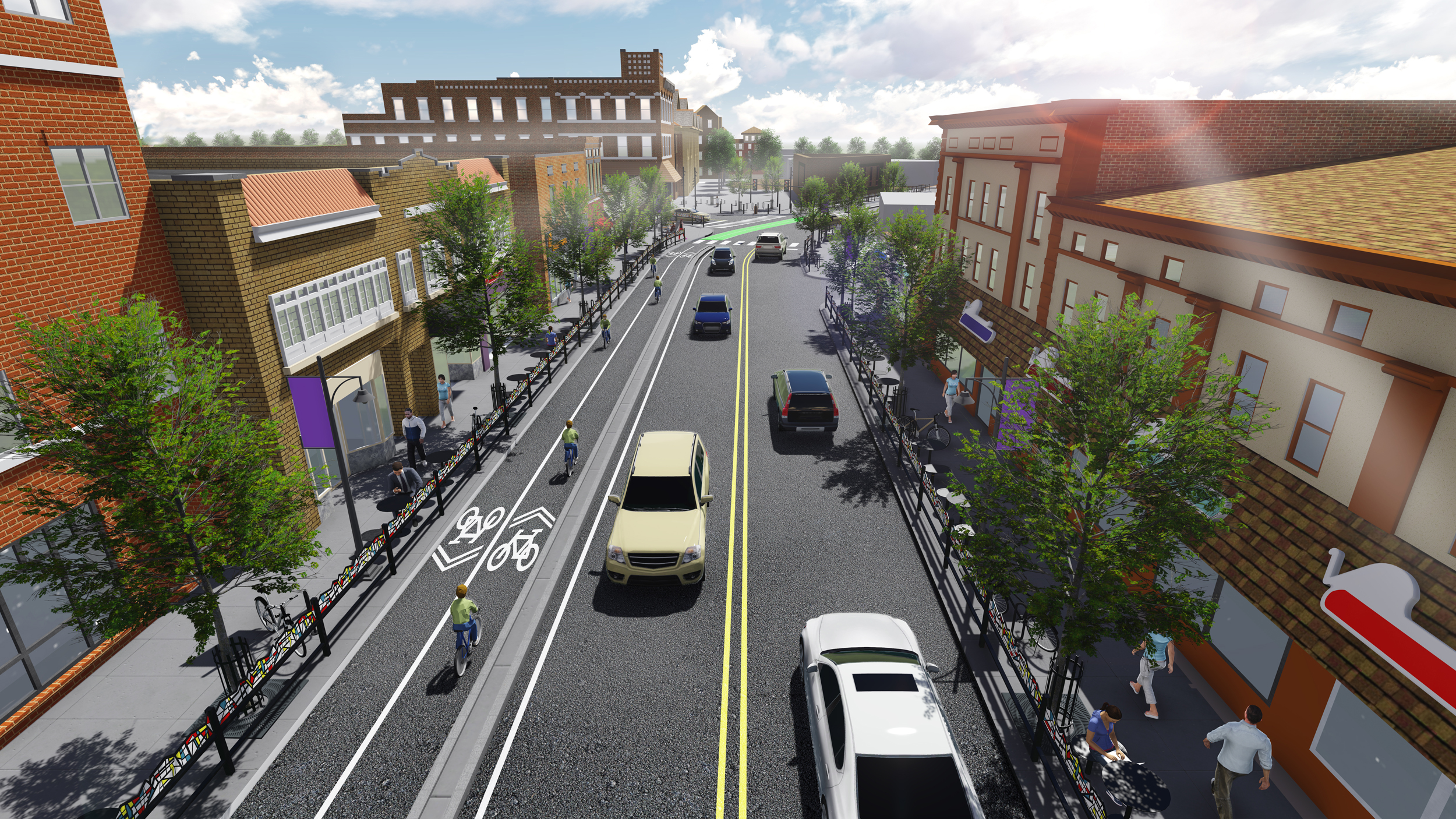 Conceptual rendering of Chauncey Village facing east towards the intersection of Northwestern Avenue and State Street.  [click photo to enlarge]
