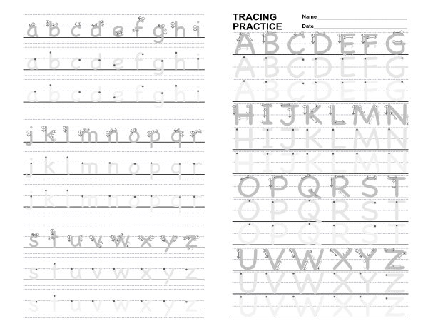 Alphabet Practice Sheets W/ Stroke Order Guide — IB4e
