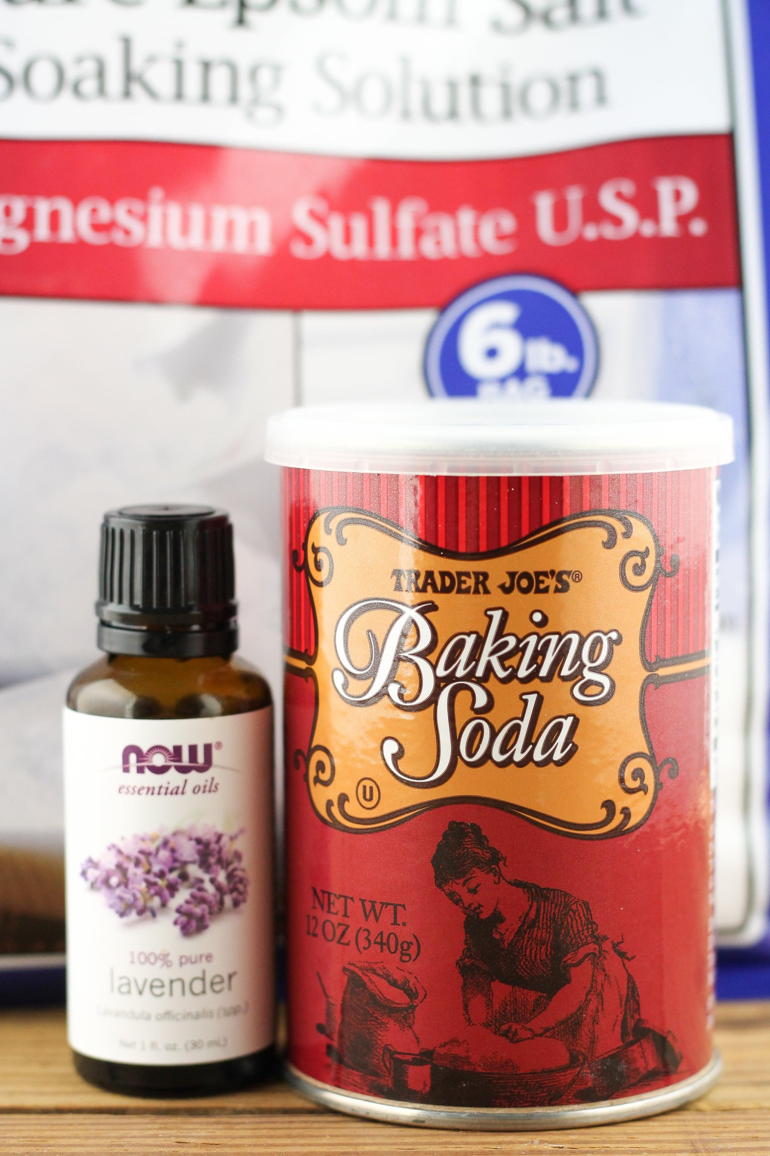 epsom salt bath, baking soda, essential oil