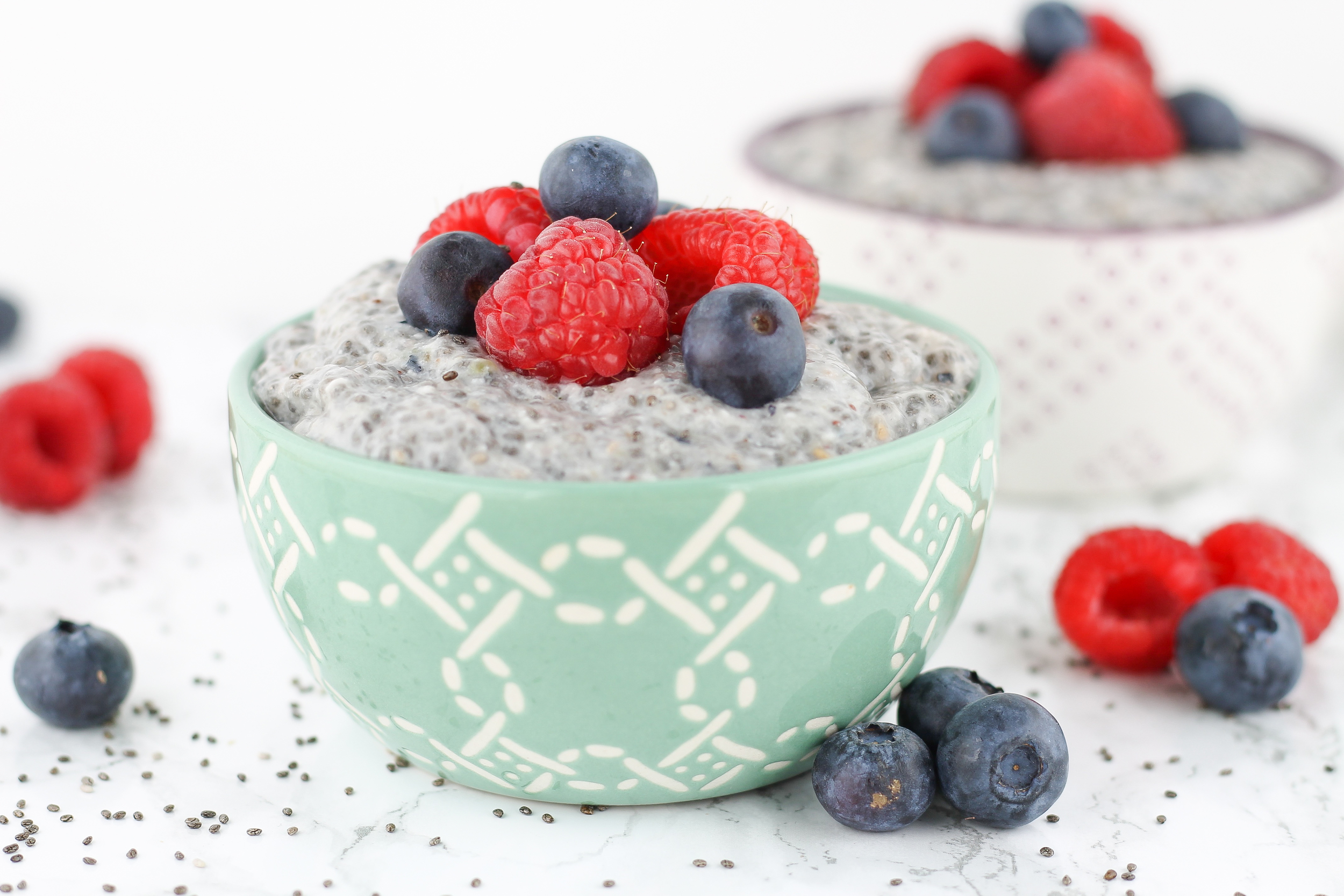 Fresh Berries, Berries and cream chia seed pudding, paleo desserts, paleo recipes, quick, easy,