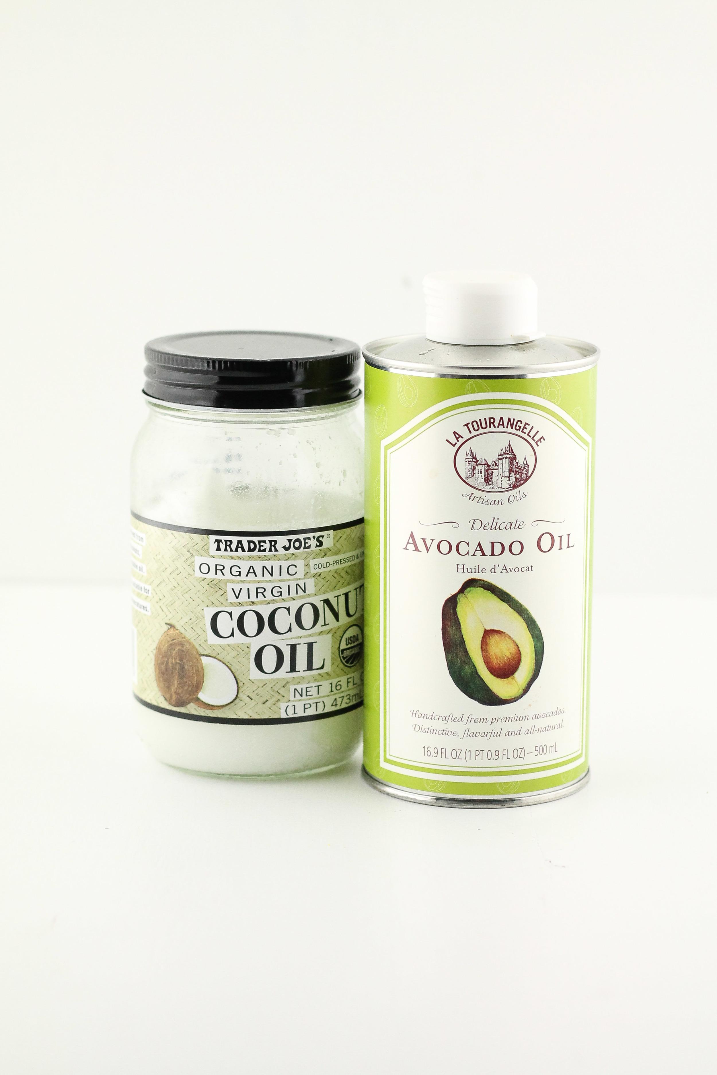 Coconut oil, avocado oil, olive oil, ghee,